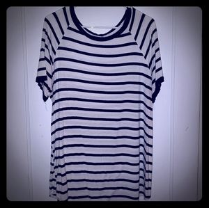 Black and Off-white Striped Tunic